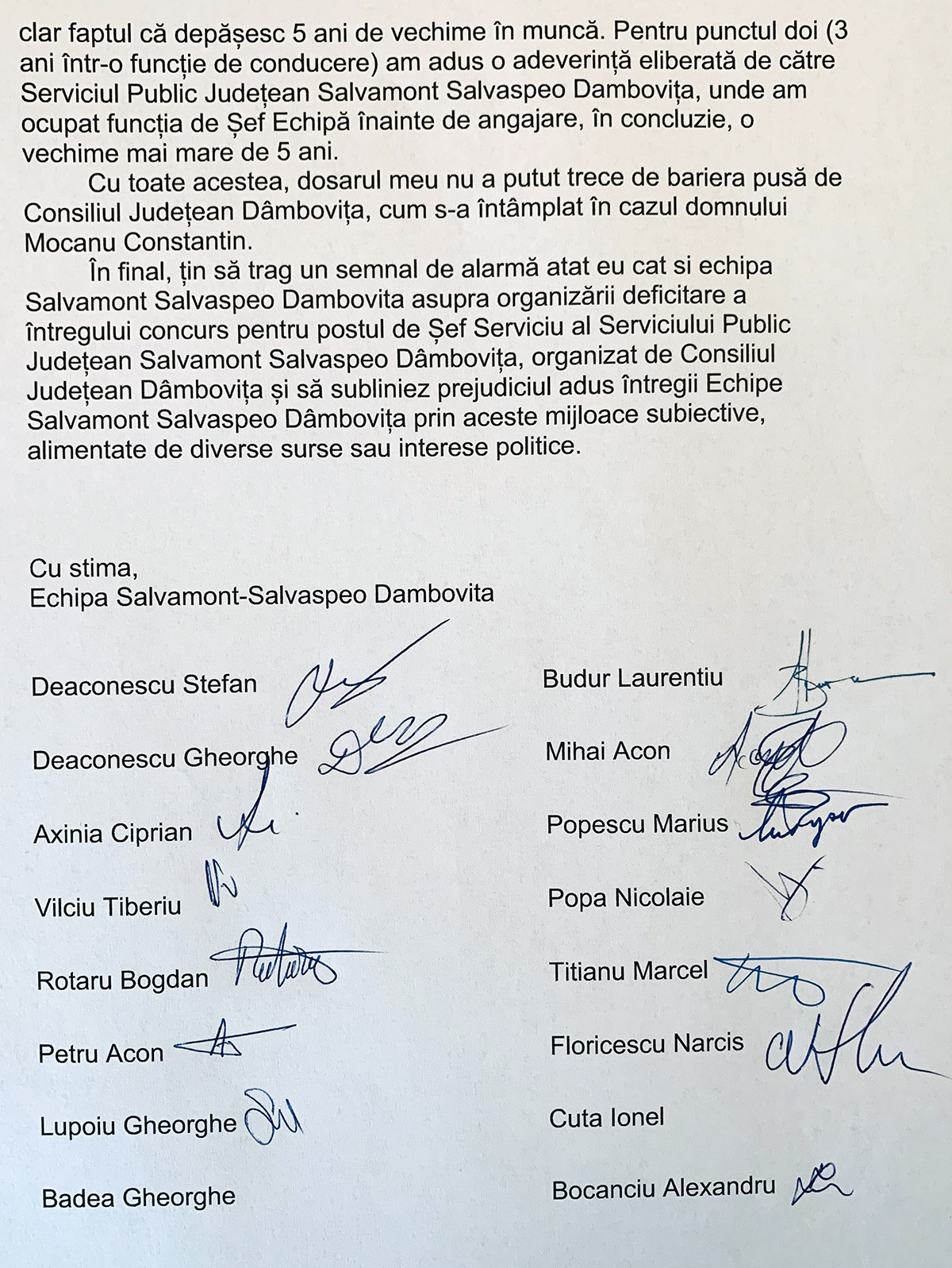 Echipa Salvamont Dâmboviţa solicită public CJ Dâmboviţa, amănarea concursului pentru postul şef Serviciul Salvamont Dâmboviţa şi intervenţia instituţiilor abilitate să verifice legalitatea organizării concursului