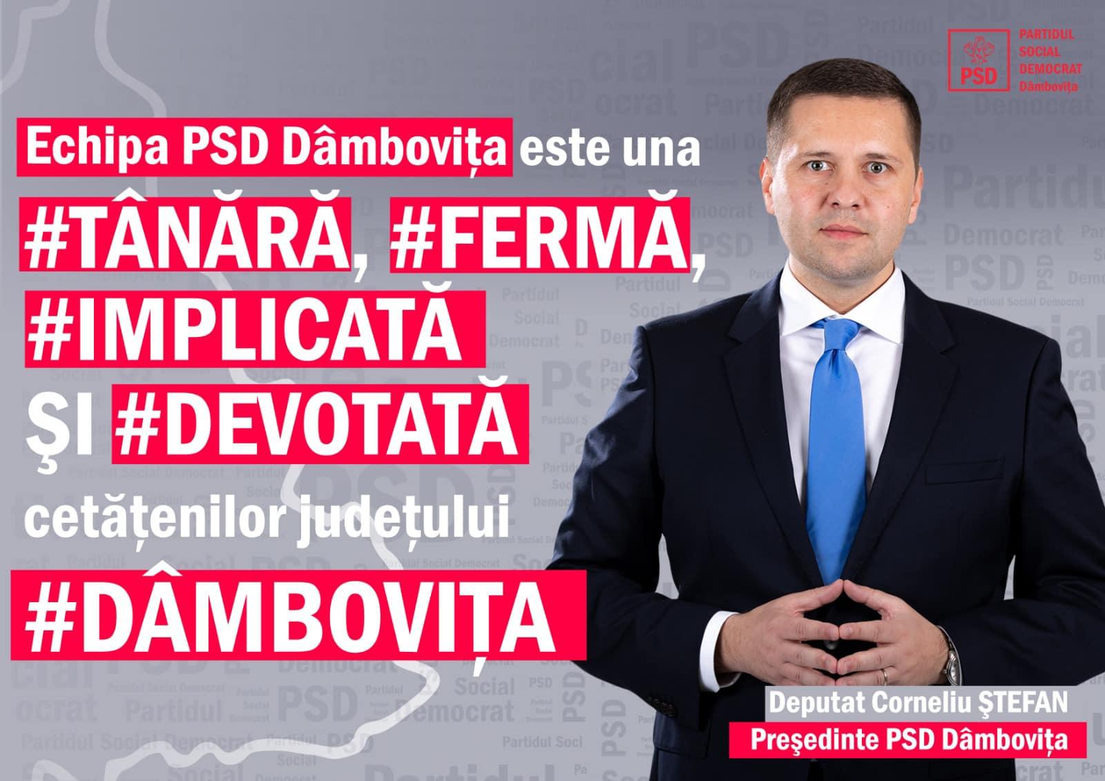 În acestă seară, în cadrul unei conferințe de presă la sediul PSD Dâmbovița, a fost anunțat cadidatul PSD la președinția CJ Dâmbovița pentru alegerile locale din 27 septembrie, în persoana deputatului Corneliu Ștefan  care este și președintele Organizației Județene.